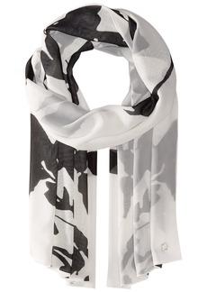Calvin Klein Women's Floral Print Scarf black