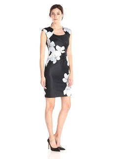 Calvin Klein Women's Floral Print Side Ruched Dress