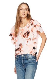 Calvin Klein Women's Floral Ruffle Sleeve Top  XS
