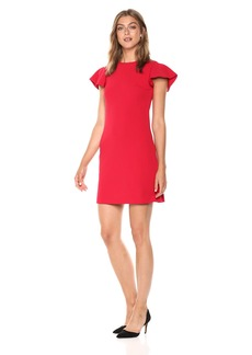 Calvin Klein Women's Flutter Short Sleeve A-Line Dress red