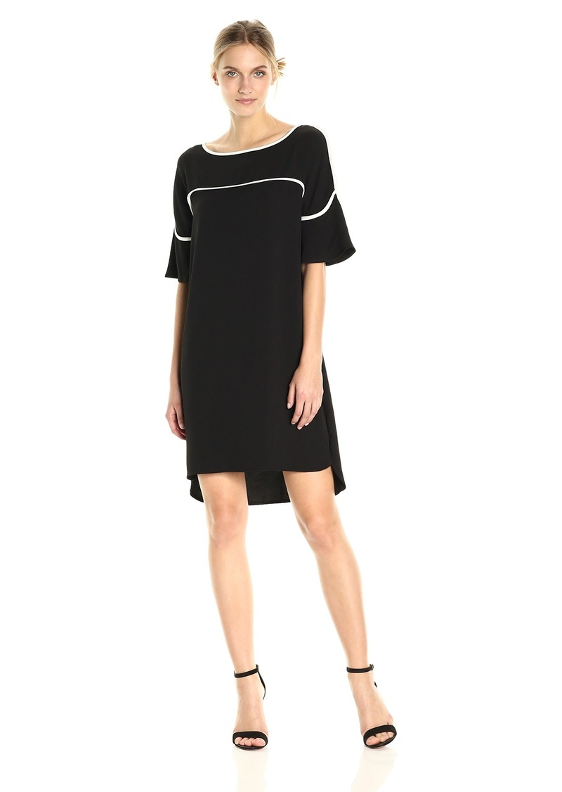 Calvin Klein Women's Flutter Sleeve Dress with Piping  L