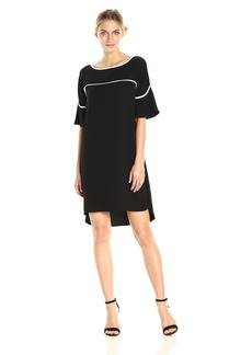 Calvin Klein Women's Flutter Sleeve Dress with Piping  XS