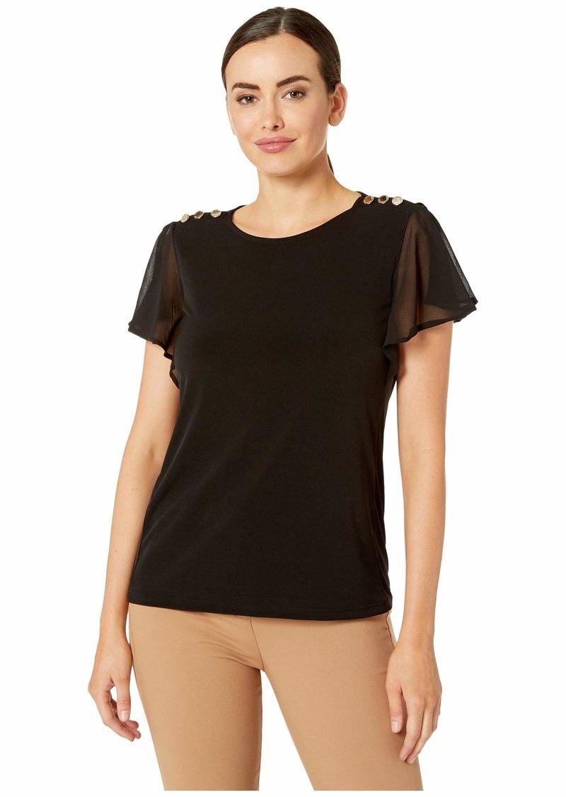 Calvin Klein Women's Flutter Sleeve TOP with Buttons