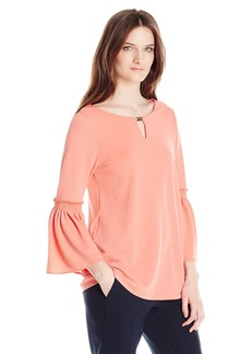 Calvin Klein Women's Flutter Sleeve Top with Hardware  L
