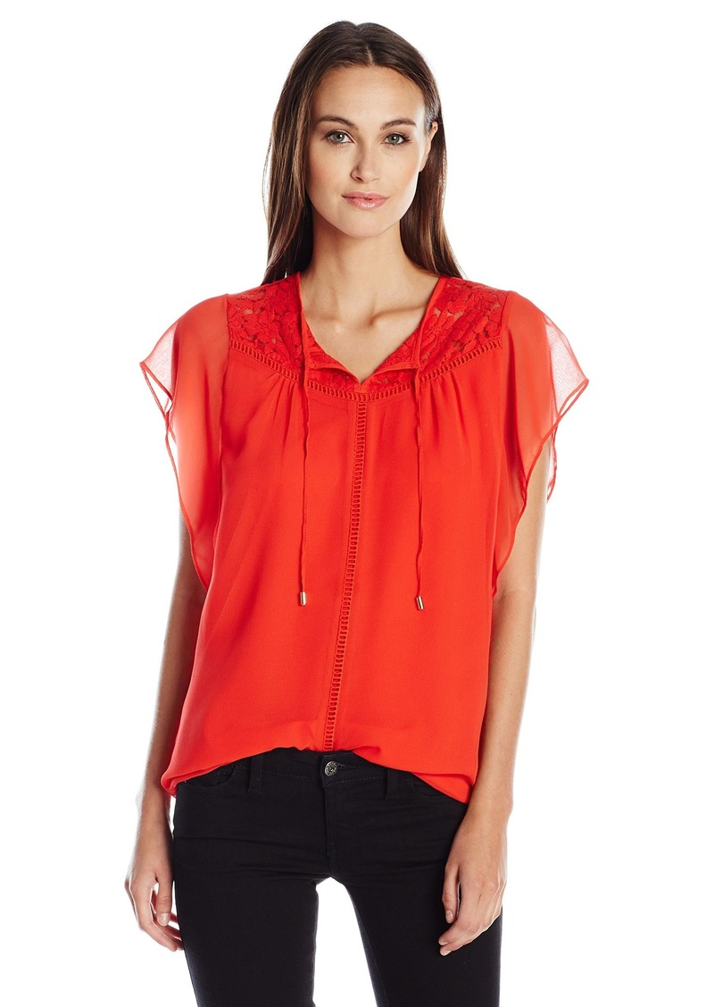 Calvin Klein Women's Flutter Sleeve Top with Lace