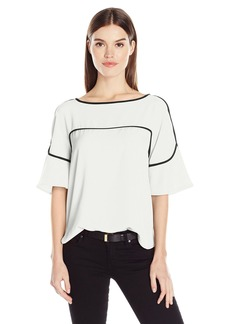 Calvin Klein Women's Flutter Sleeve Top with Piping  L