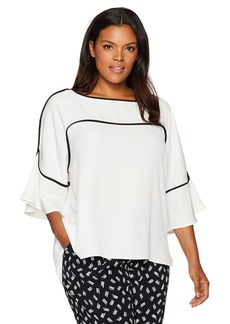Calvin Klein Women's Flutter Sleeve Top with Piping  M