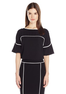 Calvin Klein Women's Flutter Sleeve Top with Piping  S