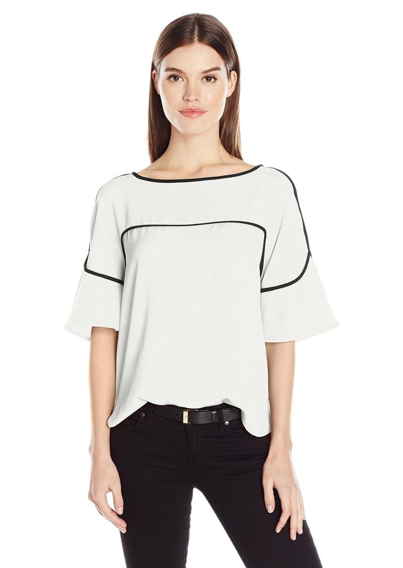 Calvin Klein Women's Flutter Sleeve Top with Piping  XL