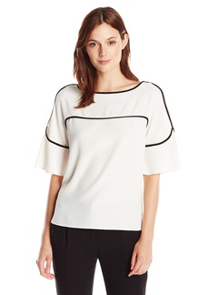 Calvin Klein Women's Flutter Sleeve Top with Piping