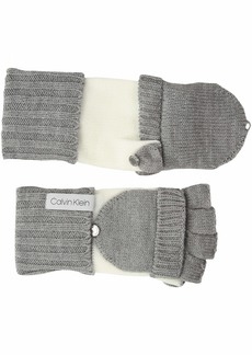 Calvin Klein Women's FT 2TONE Knit Glove Heather mid Grey O/S