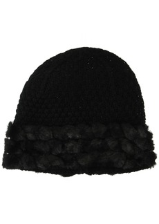Calvin Klein Women's Fur Cuff Knit Hat