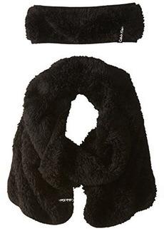 Calvin Klein Women's Fur Fleece Headband and Scarf Two-Piece Set