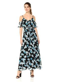 Calvin Klein Women's Gathered Sleeve Off Shoulder Dress Black/Sea Glass