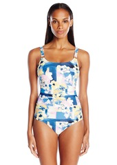 Calvin Klein Women's Geo Floral Shirred Maillot One Piece Swimsuit with Sewn in Molded Cups