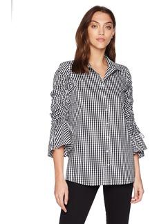 Calvin Klein Women's Gingham Shirt with Gathered Sleeve  XL