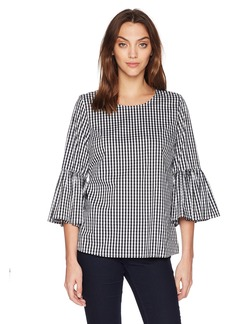 Calvin Klein Women's Gingham with Bell Sleeve  L
