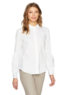 Calvin Klein Women's Half Pleat Button Front Blouse  L