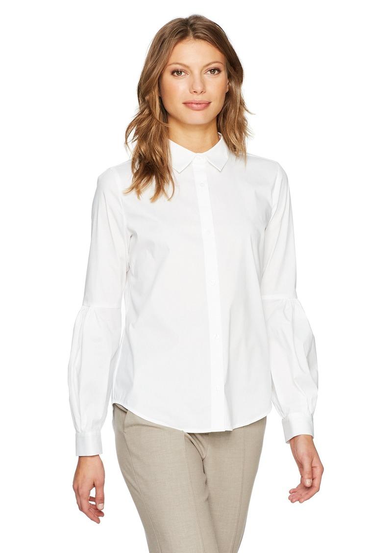 Calvin Klein Women's Half Pleat Button Front Blouse  XL