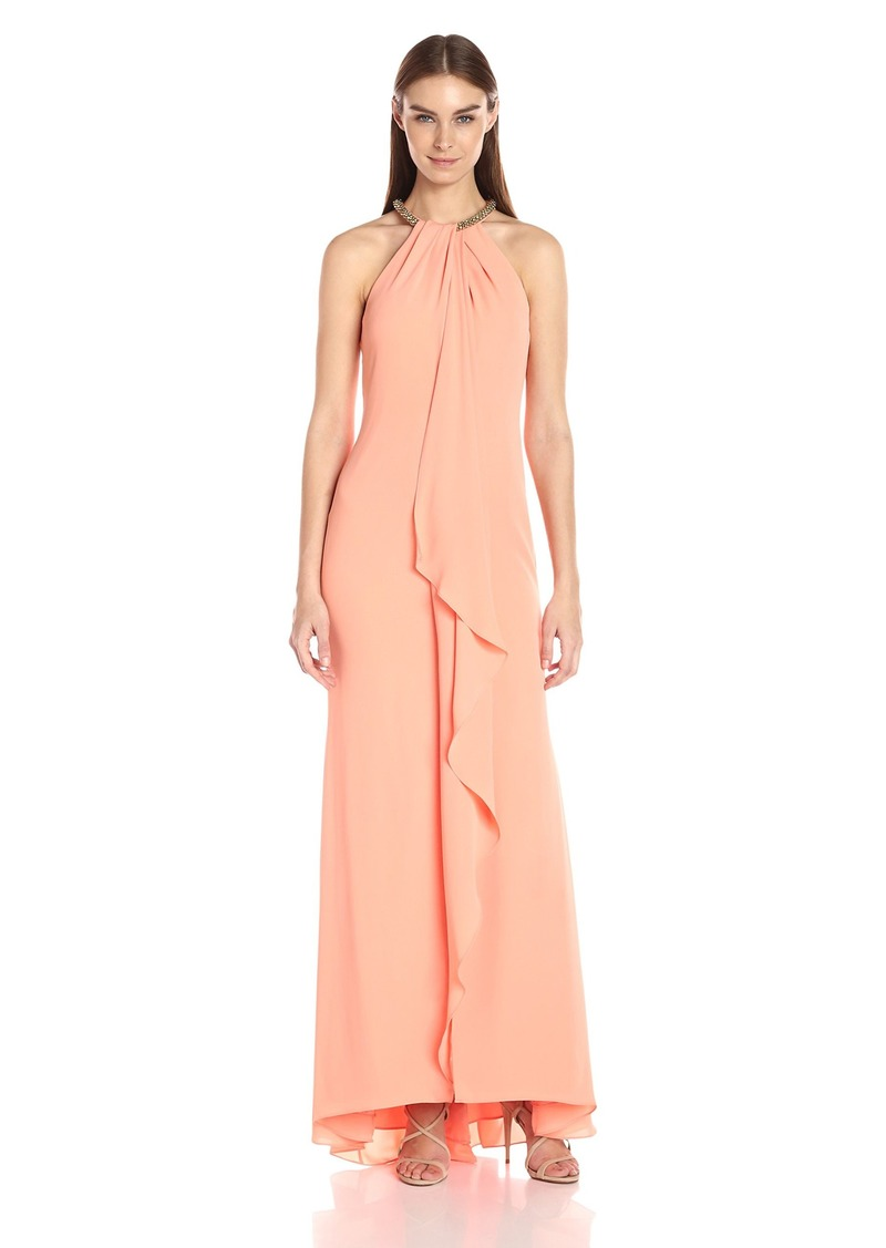 Calvin Klein Women's Halter Neck Beaded Gown with Front Drape