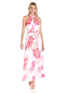 Calvin Klein Women's Halter Neck Chiffon Maxi Dress in Floral Print