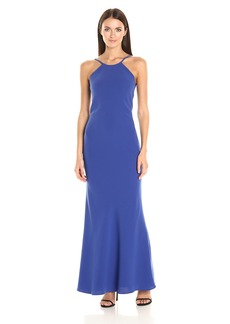 Calvin Klein Women's Halter Neck Crepe Gown with Low Back