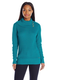 Calvin Klein Women's Heavy Cowl Pullover With Button Detail