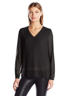 Calvin Klein Women's High-Low V-Neck Top  L