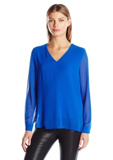 Calvin Klein Women's High-Low V-Neck Top  M