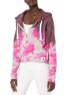 Calvin Klein Women's High Tide Tie Dye Quarter Zip Hoodie Sweatshirt