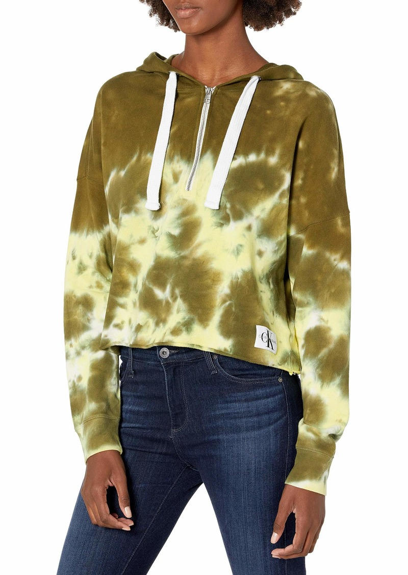 Calvin Klein Women's High Tide Tie Dye Quarter Zip Hoodie Sweatshirt