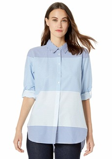 Calvin Klein Women's Horizontal Stripe Boyfriend Blouse