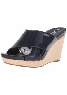Calvin Klein Women's JACOLYN Wedge Sandal deep Navy Patent  M US