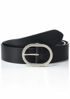 Calvin Klein Women's Jeans Leather Belt with Center Bar Buckle black M