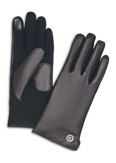 Calvin Klein Women's Knit & Leather Touch Tech Gloves