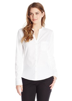 Calvin Klein Women's Knit Combo Blouse with Crew Neckline