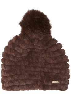 Calvin Klein Women's Knit Faux Fur Pom Beanie