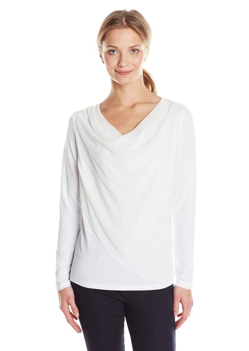 Calvin Klein Women's Knit Top with Chiffon Overlay