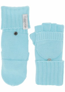 Calvin Klein Women's Knitted Convertible Fingerless Gloves with Mitten Flap Cover clear Blue