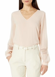 Calvin Klein Women's LACE Detail V-Neck Blouse  S