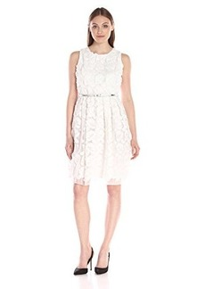 Calvin Klein Women's Lace Fit-And-Flare with Belt