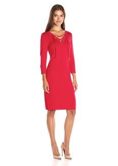 Calvin Klein Women's Lace up Detail Sweater Dress