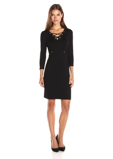 Calvin Klein Women's Lace up Detail Sweater Dress