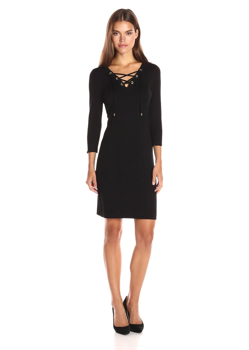 Womens Lace Up Detail Sweater Dress