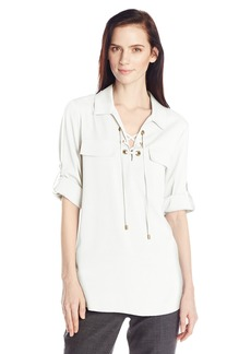 Calvin Klein Women's Lace Up Top with Collar  Small
