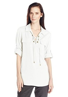 Calvin Klein Women's Lace Up Top with Collar  Medium