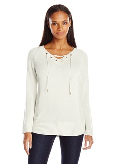 Calvin Klein Women's Lace Up V-Neck Sweater