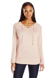 Calvin Klein Women's Lace Up V-Neck Sweater  X-Large