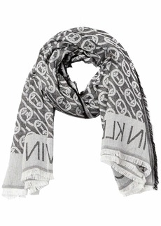 Calvin Klein Women's Large Chain Jacquard 00% Rayon Square BLACK