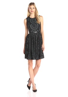 Calvin Klein Women's Laser Cut Fit and Flare Dress Black/Sea Glass